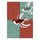 Two Flying Sparrows Birds Red Blue Colour Blocks Card