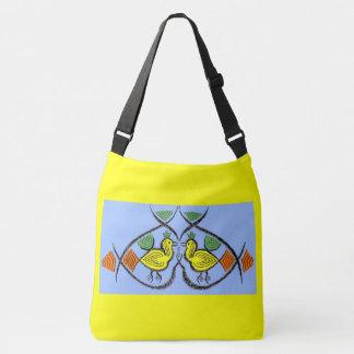 two folk art birds crossbody bag