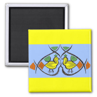 two folk art birds magnet