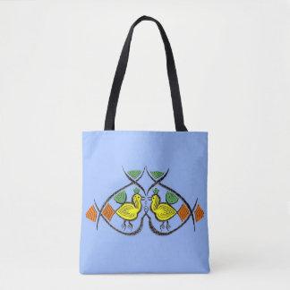 two folk art birds tote bag
