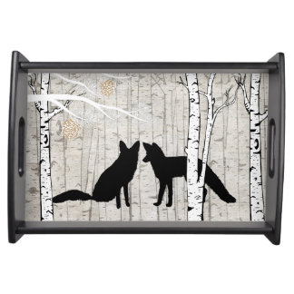 Two Foxes in Forest Serving Tray