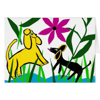 Two friendly dogs greeting card