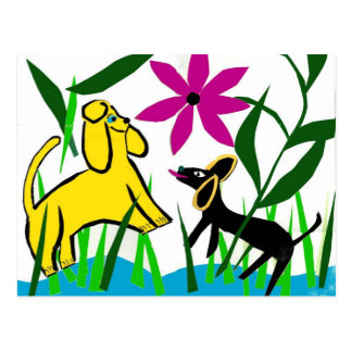 Two friendly dogs postcard