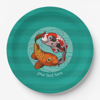 Two Friendly Koi Carp Swimming Cartoon With Text Paper Plate