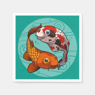 Two Friendly Koi Carp Swimming in a Circle Cartoon Paper Napkin