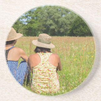 Two friends sitting together in meadow.JPG Coaster