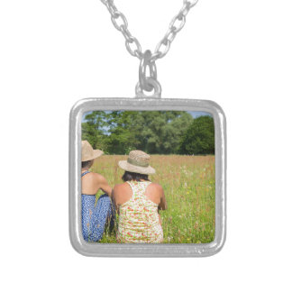 Two friends sitting together in meadow.JPG Silver Plated Necklace