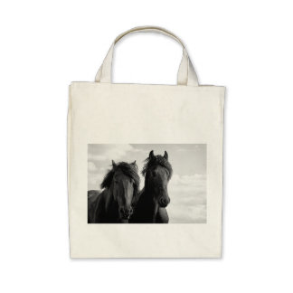 Two Friesian stallions Tote Bags