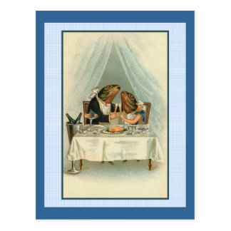 Two Frogs Dining Postcard