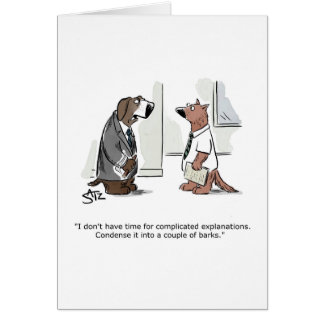 Two funny cartoon dogs talking in an office card