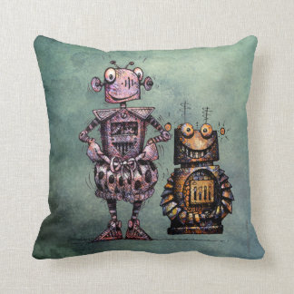 Two Funny Kid's Steampunk Robots! Cushion