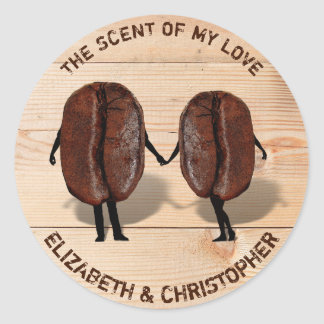 Two Funny Roasted Coffee Beans As Boy And Girl Classic Round Sticker