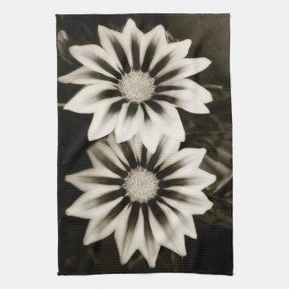 Two Gazanias Black And White Tea Towel