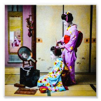 Two Geisha Doing Hair Vintage Old Japanese Photo Art