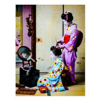 Two Geisha Doing Hair Vintage Old Japanese Postcard