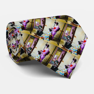 Two Geisha Doing Hair Vintage Old Japanese Tie