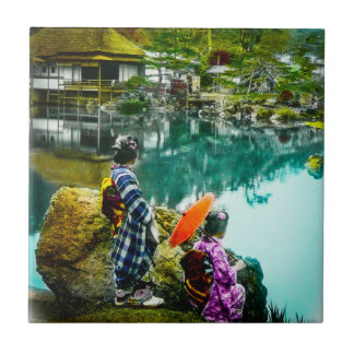 Two Geisha Enjoy a Day at the Park Vintage Japan Ceramic Tile