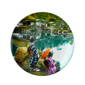 Two Geisha Enjoy a Day at the Park Vintage Japan Plate