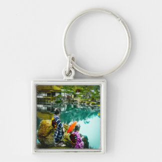 Two Geisha Enjoy a Day at the Park Vintage Japan Silver-Colored Square Key Ring