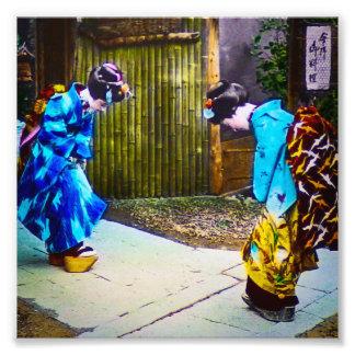Two Geisha Greeting One Another Bright Kimonos Photo Print
