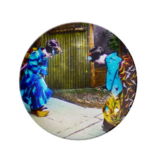 Two Geisha Greeting One Another Bright Kimonos Porcelain Plate