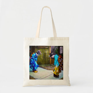 Two Geisha Greeting One Another Bright Kimonos Tote Bag