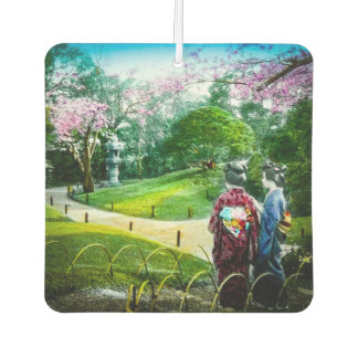 Two Geisha in a Public Garden in Old Japan Vintage Car Air Freshener