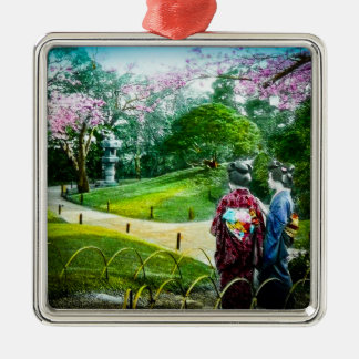 Two Geisha in a Public Garden in Old Japan Vintage Silver-Colored Square Decoration