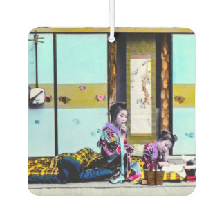 Two Geisha Smoking Before Bed Vintage Japan