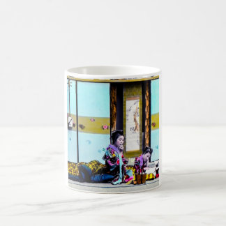 Two Geisha Smoking Before Bed Vintage Japan Coffee Mug