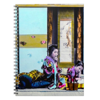 Two Geisha Smoking Before Bed Vintage Japan Spiral Notebook