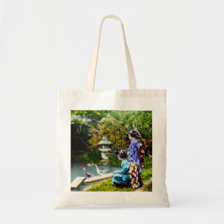 Two Geisha Watching Ducks Vintage Old Japan Tote Bag