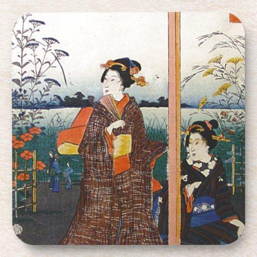 Two Geishas Japanese Traditional Woodblock Ukiyo-E Coaster