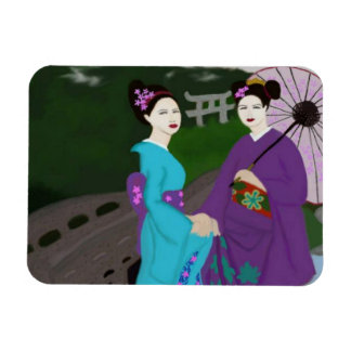 Two Geishas Magnet
