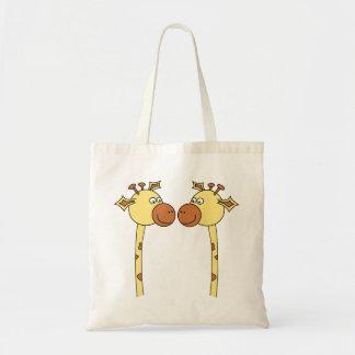 Two Giraffes Close-up. Cartoon Canvas Bag