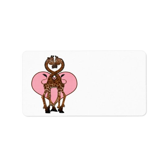 Two Giraffes With Necks Entwined And Love Heart Label