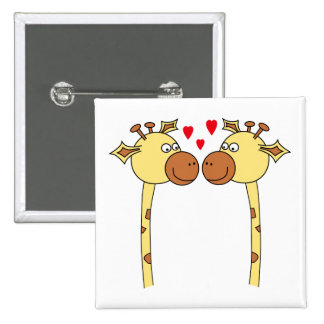 Two Giraffes with Red Love Hearts. Cartoon Pinback Button