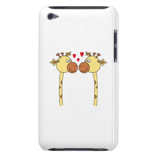 Two Giraffes with Red Love Hearts. Cartoon iPod Case-Mate Case