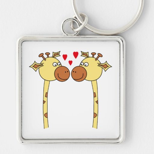 Two Giraffes with Red Love Hearts. Cartoon Keychain