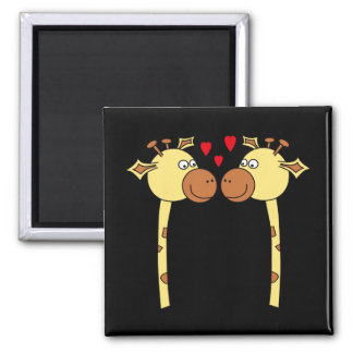 Two Giraffes with Red Love Hearts. Cartoon Magnets