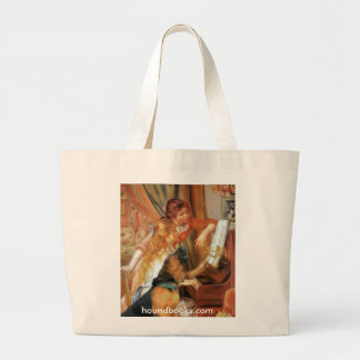 Two Girls (and Wimsey the Bloodhound) at the Piano Jumbo Tote Bag