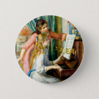 Two Girls at the Piano - Pierre Auguste Renoir 6 Cm Round Badge