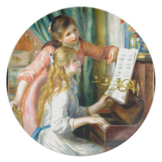 Two Girls at the Piano - Pierre Auguste Renoir Plate