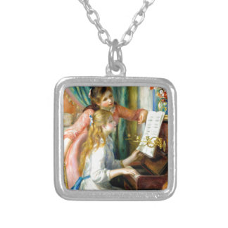 Two Girls at the Piano - Pierre Auguste Renoir Silver Plated Necklace