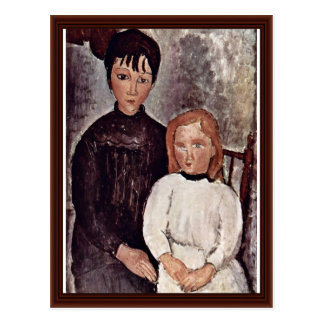 Two Girls By Modigliani Amedeo Postcard