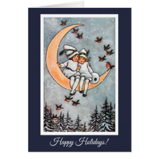 Two Girls on the Moon Vintage Christmas Card