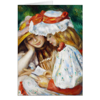 Two Girls Reading Pierre Auguste Renoir painting Card