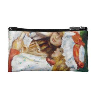 Two Girls Reading Pierre Auguste Renoir painting Makeup Bags