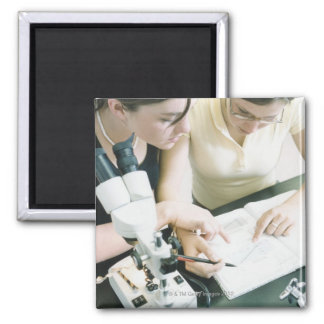 Two Girls with Microscope Magnet