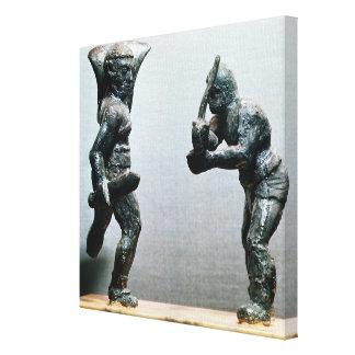 Two gladiators in combat canvas print